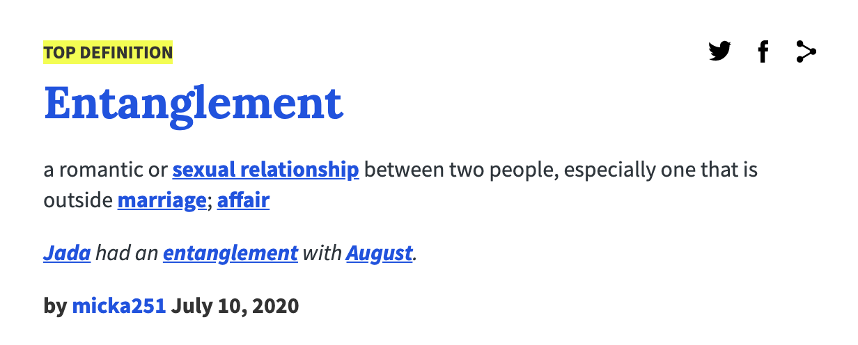 Screenshot of Urban Dictionary's top definition for entanglement