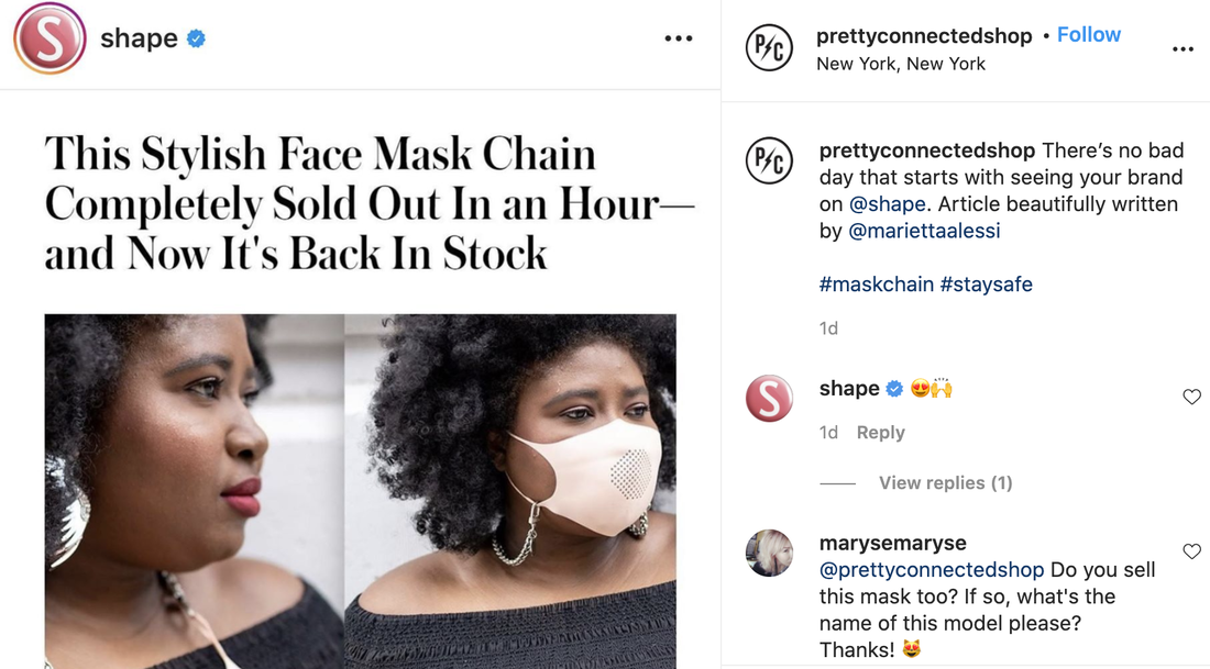 Screenshot of Pretty Connected Shop Face Mask Chain